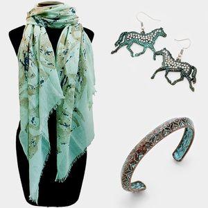 Infrared Studio Jewelry - Wild Horses Patina Verdigris Pave Copper Earrings